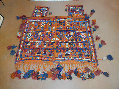 Old Horse Cover wool handmade circa 1940s large Tribal handwoven Pictorial rug