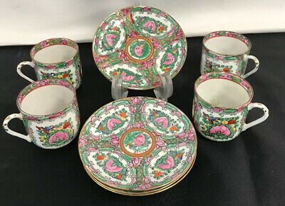 Antique Asian Dinnerware/ Rose Medallion Pattern/Set of 4 Cups and Saucers