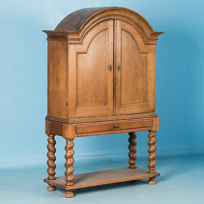 Antique 18th Century Arched Oak Cabinet With Barley Twist Legs