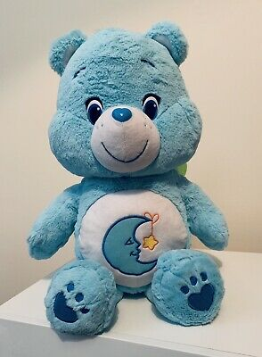 """Large Blue Care Bear - Bedtime Bear - Soft Toy/Plush - Approx 20"""" Moon And Star"""
