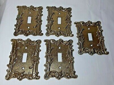 Set 5 Vintage Gold Metal CHARM N STYLE SA Light Switch Plate Cover Rose Lot