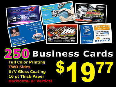 LOOK 250 BUSINESS CARDS - Full Color UV Gloss Personalized Custom Must See!!!