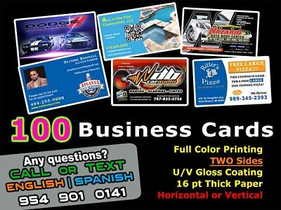 LOOK 100 BUSINESS CARDS - Full Color UV Gloss Personalized Custom Must See!!!