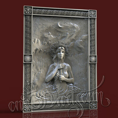 3D Model STL for CNC Router Artcam Aspire Bathing Night Girl Panel Cut3D Vcarve