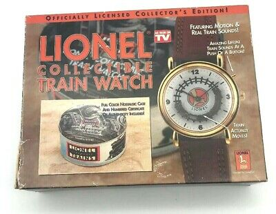 Vintage Lionel Collectible Trains Wrist Watch Brown Leather Moving Train NIB Tin