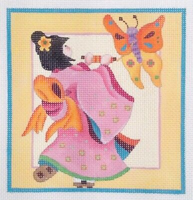 Melissa Shirley Designs needlepoint handpaint 1161D Geisha butterfly Japanese