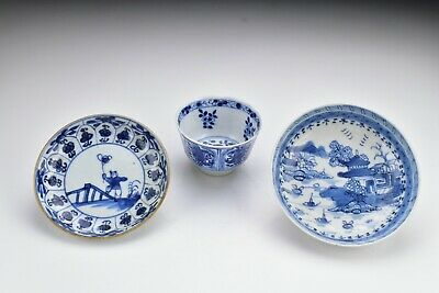 Chinese Porcelain Handless Cup & Saucers w/ Crab Fish Figure View Kangxi Period