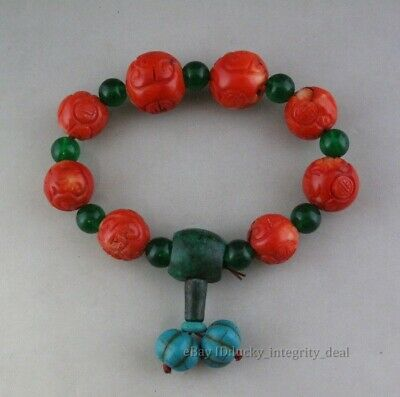 Chinese Old Red Coral Hand Carved Beads Bracelet