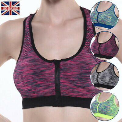 Fashion Women Bra High Impact Front Zip Wireless Padded Cup Tank Tops Gym Sport