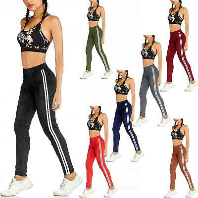 Womens Velvet Thermal Thick Fleece Lined Leggings Ladies Side Striped Trousers