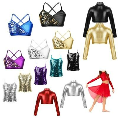 Girls Shiny Metallic Crop Top Camisole Dance Vest Tops Spaghetti Straps Bra Tops