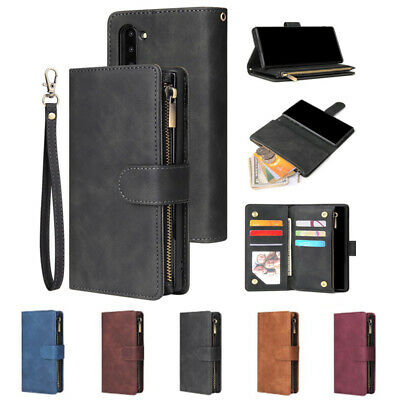 For iPhone 6 / 7 / 8 XS / 11 Pro Zip Coin Purse Card Slot Flip Wallet Case Cover