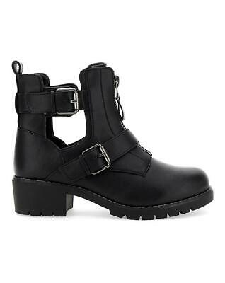 Womens Black E Eee Extra Wide Fit Biker Calf Ankle Boots Casual Shoes Sizes 4-9
