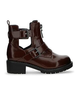 Womens Burgundy E Eee Extra Wide Fit Biker Calf Ankle Boots Casual Shoes Uk 4-9