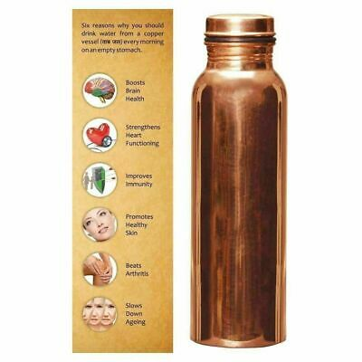 1 Litre Leakproof 100% Pure Copper Water Bottle Flask Health Benefits FreeShip