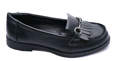 Girls Kids Childrens Black School Smart Flat Junior Fringe Loafers Shoes Uk 10-3