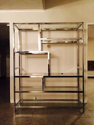 "Milo Baughman Mid-Century Modern 60""W Chrome & Glass Etagére Excellent Condition"