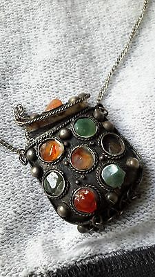 Antiques Egyptian Metal Pendant Necklace with 6 TANZANITE Carat