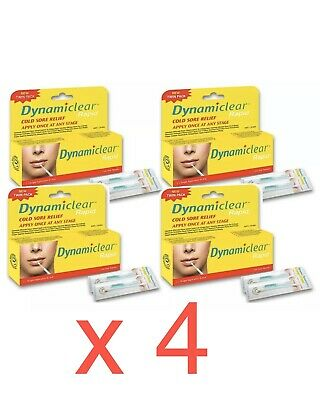 4 x Dynamiclear Rapid Cold Sore Relief Cream 0.5mL Twin Pack (8 Doses TOTAL)