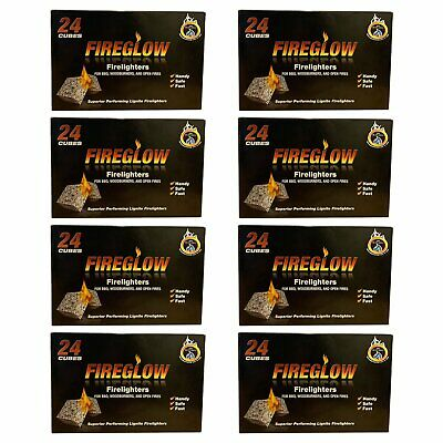 Fireglow 24 Cube Long Burning Fire lighters Flame Fast Barbecue BBQ Oven