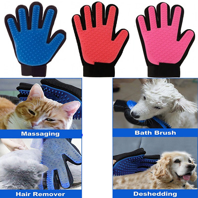 Pet Dog Cat Grooming Glove Deshedding Brush Fur Remover Mitt Right/ Left Hand