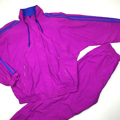 VTG 80's Liz Sport Purple Blue Striped Lined Windbreaker Track Suit Womens Med