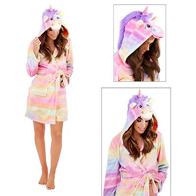Loungeable Womens 3D Rainbow Unicorn Dressing Gown Ladies Hooded Novelty Robe