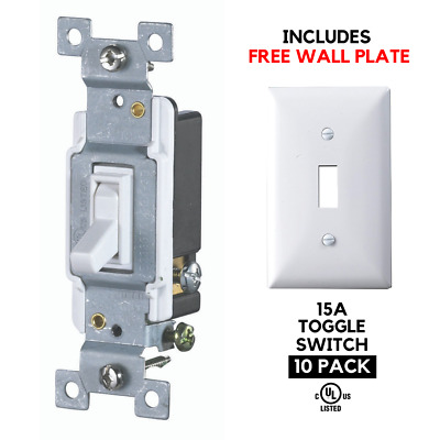 10 PACK 15A Single Pole Toggle Light Switch AC Electrical Grounding UL, White