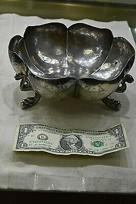 Antique Mexican .925 Sterling Silver Bowl w/Dragon Feet