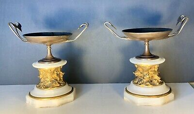 Grand Tour Tazza PAIR carved Marble Gold Gilt And Patinated Bronze