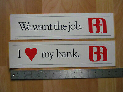 Vintage Bank of America Bumper Stickers Lot of 2