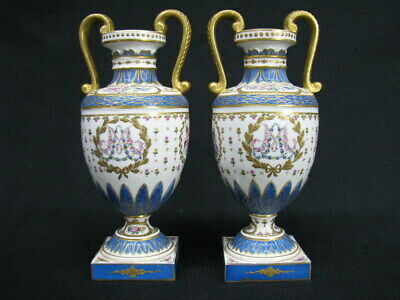 """Pair of Sèvres Gilt and Painted Double Handled 9"""" Urns France; Marie Antoinette"""