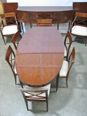 "Baker Furniture ""Archetype"" Dining Set; Table, 2 Leaves, 8 Chairs & Buffet Deco"