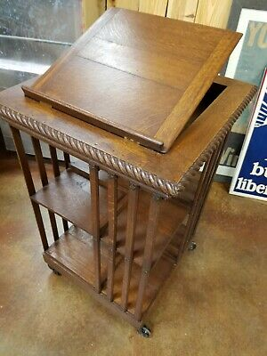 19Th C Danner Revolving Oak Bookcase W/ Book Stand Excellent Condition Updated