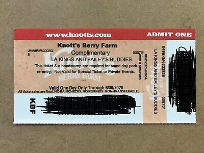 One (1) Knott's Berry Farm Admission Ticket - Valid ONE DAY ONLY Through 6/30/20