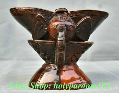"8"" Marked Old Chinese Ox Horn Dynasty Palace Double Elephant Head Drinking Cup"