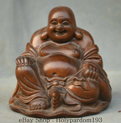 11CM Old Chinese Wood Carving Happy Maitreya Buddha Wealth Bag Statue Sculpture