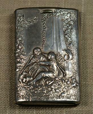 Antique Sterling Silver Slide Out Vesta Match Safe ~ Repousse Figures In Garden