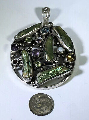 "Sterling Silver 3"" Abalone Amethyst Topaz Citrine Pearl Deluxe Pendant. Free S&H"