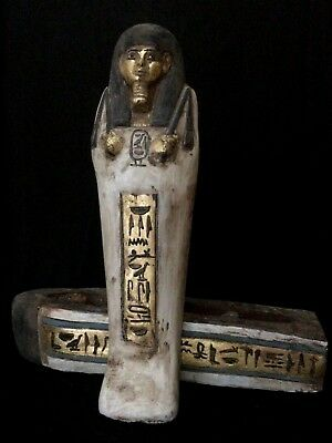 RARE EGYPT EGYPTIAN ANTIQUES STATUE KING TUT Coffin Sarcophagus Mummy STONE,BC