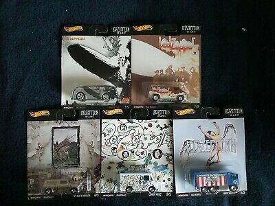 Hot Wheels 2020 Premium LED-ZEPPELIN Real Riders Complete Set of 5, New