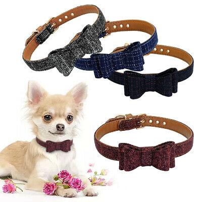 Soft PU Leather Dog Collar Bowtie Pet Cat Puppy Necklace for Small Medium Dogs