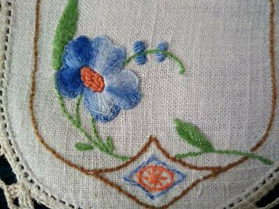 Lovely Blue Flowers  Vintage Hand embroidered Sandwich Doily