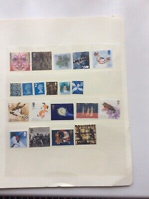 GB QE11 20 DIFFERENT 2nd CLASS UNFRANKED STAMPS NO GUM OFF PAPER  free postage