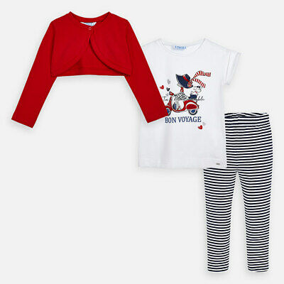 Mayoral Girls  Cardigan and patterned leggings set in Red (3719) Aged 2-8 Yrs
