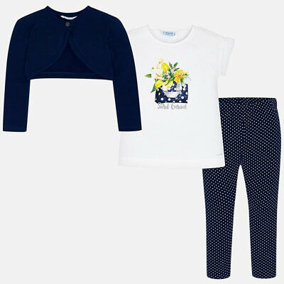 Mayoral Girls  Cardigan and patterned leggings set in Navy  (3719) Aged 2-8 Yrs