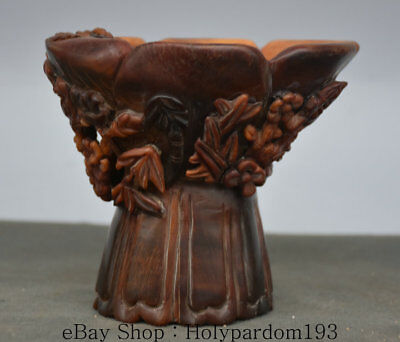 "5.2"" Marked Old Chinese Dynasty Ox Horn Hand Carved Flower Drinking Cup Horn Cup"