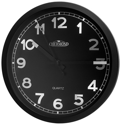 CHERMOND Wall Clock Metal Case Black Dial Arabic Numerals HQ