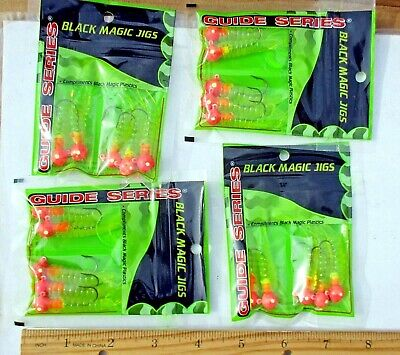 4pks 6ct BLACK 1//8oz JIGS with Curly Tail Grubs,Crappie Walleye Panfish Fishing