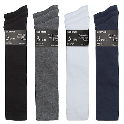 Girls Knee High Socks Children School Uniform Long Plain Cotton Rich Casual Pack